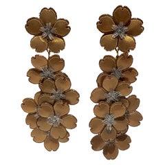 Monumental Gold Flower Chandelier Statement Earrings