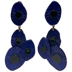 Monumental Contemporary Blue Abstract Statement Earrings