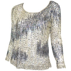 Halston Bead & Sequin Embellished Mesh Top