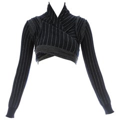 Comme des Garcons navy blue wool striped knitted wrap cardigan, ca. 1980s