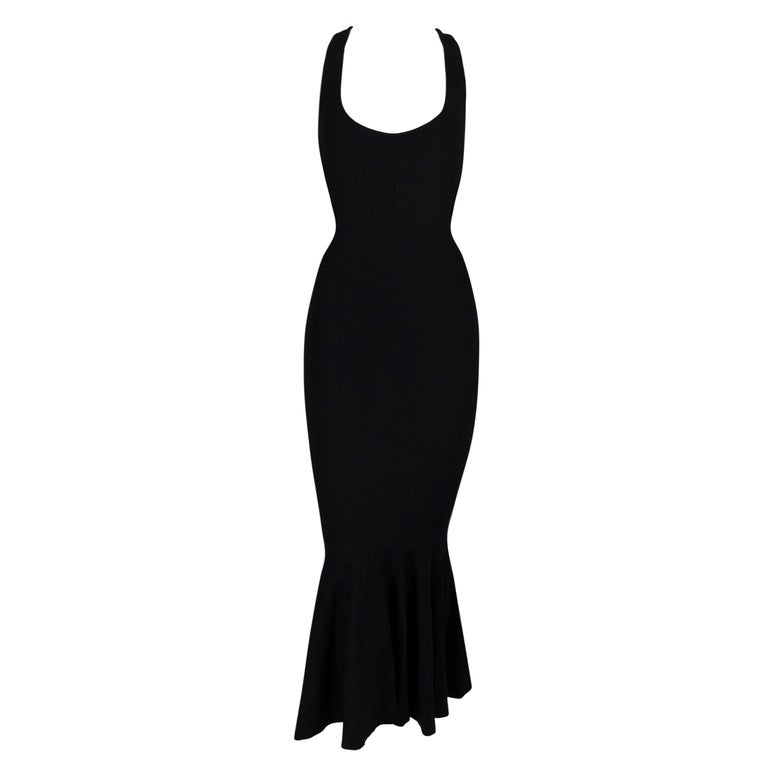 2001 Dolce & Gabbana Black Mermaid Wiggle Dress 40 For Sale