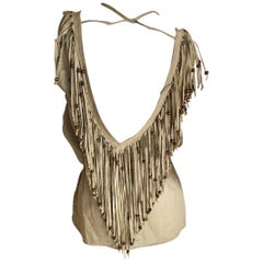 D&G Dolce & Gabbana Vintage Suede Fringed Low Cut Festival Top