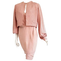 VALENTINO Haute Couture pink with brown polka dots, silk jacket dress - Unworn