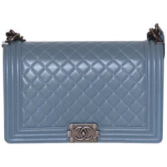 Chanel Blue Lambskin Large Boy Bag