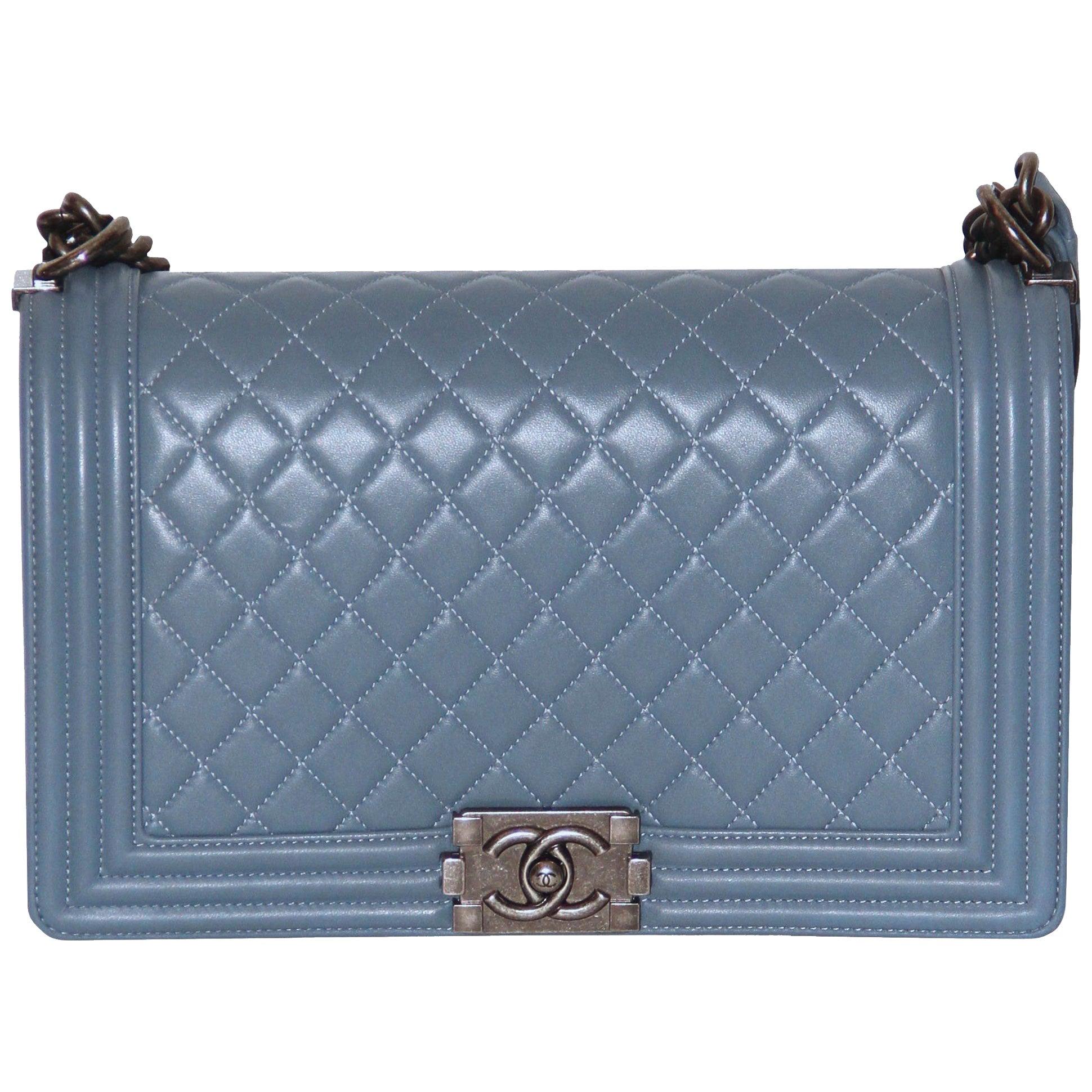 7a952b48a19d Chanel Blue Lambskin Large Boy Bag at 1stdibs