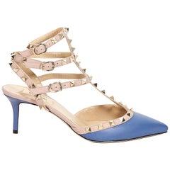 Blue & Nude Valentino Rockstud Kitten Heels