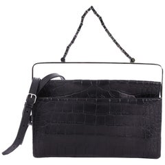 Balenciaga Flap Clutch with Top Handle Embossed Crocodile and Leather Medium