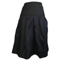Marni Navy & Black Silk Pleats with Pockets Skirt Size 6 / 8.