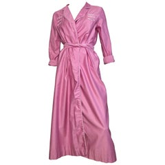David Brown 1980s Pink Cotton Loungewear with Pockets & Belt Size Small.