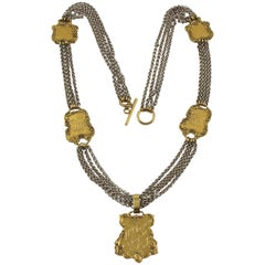 Zoe Coste Paris Extra Long Multi-Strand Necklace with Gilt Medallion