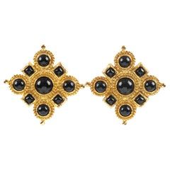 Edouard Rambaud Paris Signed Byzantine Clip-on Earrings Black Cabochon