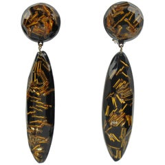 Oversized Black Lucite Long Drop Clip on Earrings with Gilt Bead Inclusions