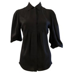 "Versace Collection Silk Black ""Poet"" Blouse 42 Itl"