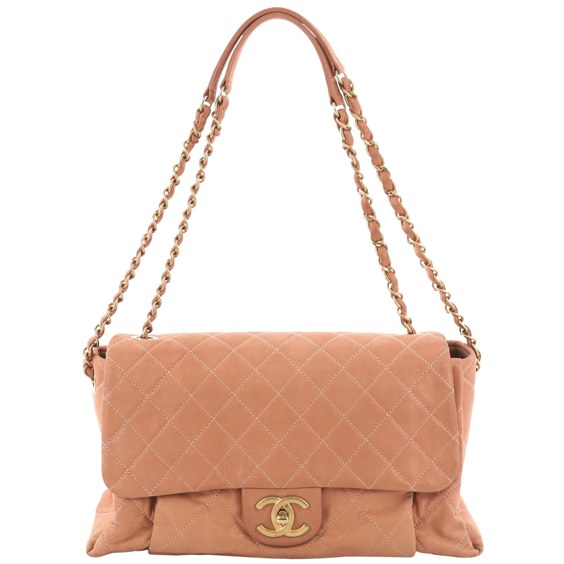 430cddfd9c33f6 Chanel Coco Pleats Flap Bag Quilted Iridescent Calfskin Maxi at 1stdibs