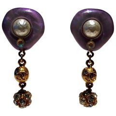 Vintage Chanel 1996 Cruise Lavender Pearl Statement Earrings