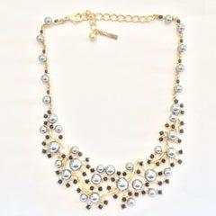 Oscar De La Renta Necklace of Grey pearls and black diamante