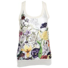 Gucci Beige Floral Printed Silk Rib Trim Sleeveless Top XS