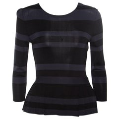 Dior Grey and Black Striped Knit Long Sleeve Peplum Top S