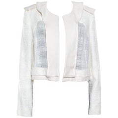 Chloe Sail White Textured Open Front Jacket S