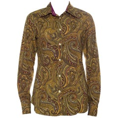 Etro Yellow Paisley Printed Cotton Contrast Trim Detail Long Sleeve Blouse M