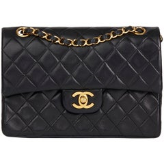 1986 Chanel Black Quilted Lambskin Vintage Small Classic Double Flap Bag