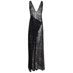F/W 1998 Gucci by Tom Ford Black 2 Dress Set Sheer Lace & Plunging Mermaid Gown