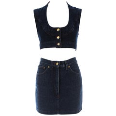 Vivienne Westwood blue denim skirt and vest set, c. 1990s
