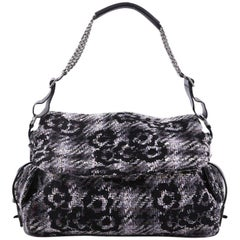 Chanel Messenger Bag Camellia Tweed and Leather Large