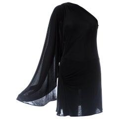 Gianni Versace black silk jersey 1-sleeve draped evening dress, S/S 2001