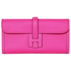 Hermes 2018 Magnolia Pink Swift Leather Jige Elan 29cm H Envelope Clutch Bag