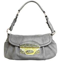 Prada Grey Leather Pochette Shoulder Bag W/ Enamel Push Lock