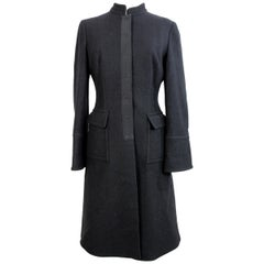2000s Alberta Ferretti Black Wool Long Coat Hidden Buttons