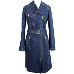 1990s Dolce & Gabbana Blue Cotton Jeans Trench Long Coat