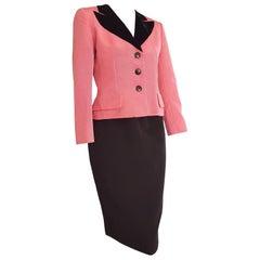Christian DIOR pink silk jacket Black silk skirt Black velvet collar- Unworn New