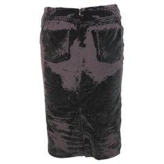1990s Jean Paul Gaultier Black Brown Wool Knee Length Pencil Skirt