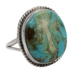 Zuni Turquoise Sterling Silver Statement Native American Ring