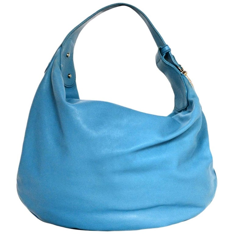 77218d1d5e05 Marc Jacobs Blue Leather Hobo Push Lock Bag For Sale at 1stdibs