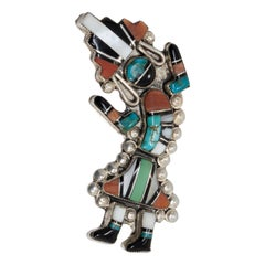 Zuni Native American Rainbow Man Pin Brooch, Coral, Turquoise, Sterling Silver