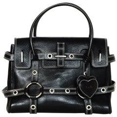 Luella Black Leather Gisele Satchel Handbag W/ White Contrast Stitching
