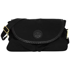 Tory Burch Black Nylon/Leather Whipstitch Trim Marion Diaper Bag W/ Changing Pad