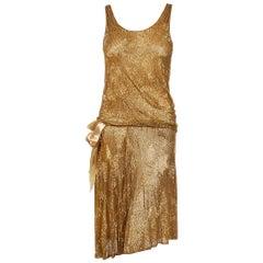 1926 Yvonne Paris Couture Gold Beaded Cotton-Net Asymmetric Deco Flapper Dress