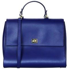 Hugo Boss Blue Leather Bespoke S Top Handle Satchel Bag