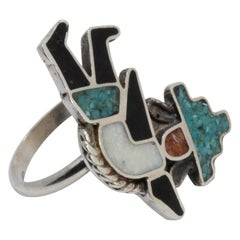 Zuni Native American Rainbow Man Ring, Coral, Turquoise, Sterling Silver