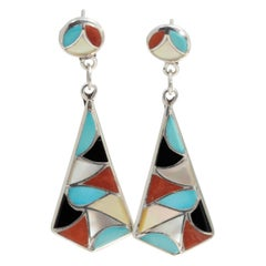 Zuni Native American Mosaic Dangle Earrings, Coral, Turquoise, Sterling Silver