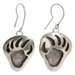 Native American Indian Bear Claw Sterling Silver Hook Earrings