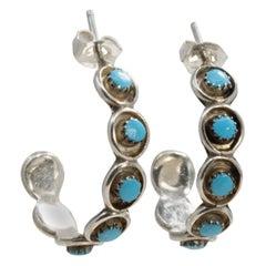 Native American Zuni Turquoise Sterling Silver Hoop Earrings