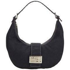 Fendi Black Canvas Hobo Bag
