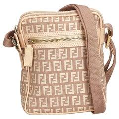 Fendi Brown Zucchino Jacquard Crossbody Bag