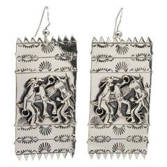 Native American Sterling Silver Deity Motif Dangling Earrings