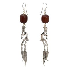 Native American Indian Zuni Sterling Silver Dangling Feathers Hook Earrings